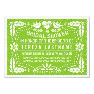 "Papel picado lovebirds green wedding bridal shower 5"" x 7"" invitation card"