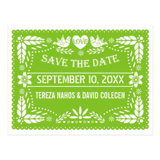 Papel picado lovebirds green wedding Save the Date Postcard