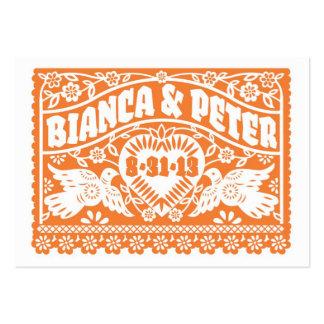 Papel Picado Lovebirds Orange Place card