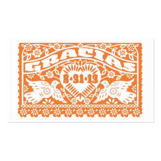 Papel Picado Lovebirds Orange Tag Business Card