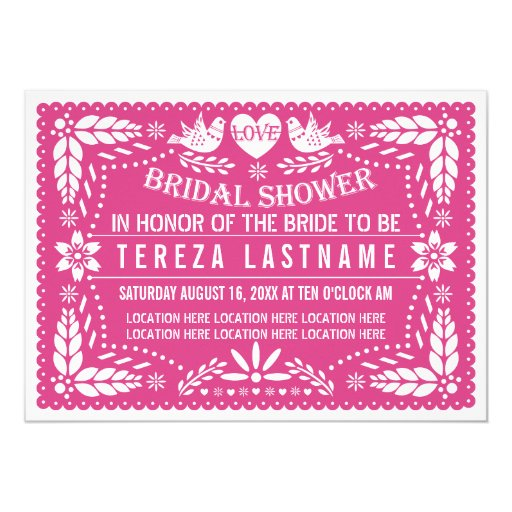 Papel picado lovebirds pink wedding bridal shower card