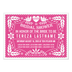 Papel picado lovebirds pink wedding bridal shower 5