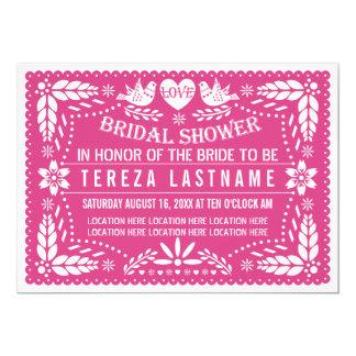 Papel picado lovebirds pink wedding bridal shower 5x7 paper invitation card