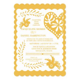 Papel Picado Mexican Fiesta Wedding Banner Gold 5x7 Paper Invitation Card
