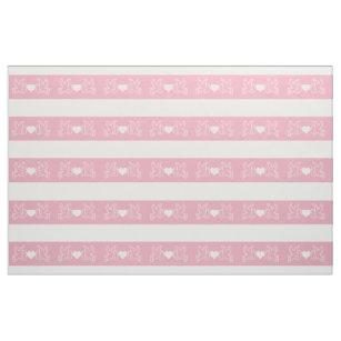 Papel Picado Mexican Love Birds Pink White Fabric