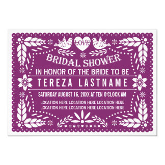 Papel picado modern purple wedding bridal shower card