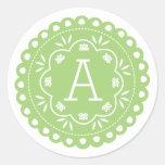 Papel Picado Monogram Stickers - Green Round Sticker