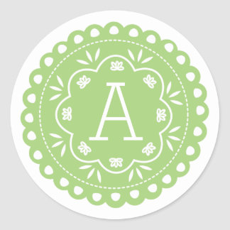 Papel Picado Monogram Stickers - Green