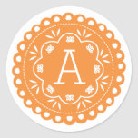 Papel Picado Monogram Stickers - Orange