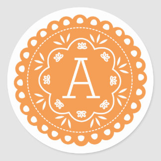 Papel Picado Monogram Stickers - Orange
