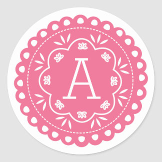 Papel Picado Monogram Stickers - Pink