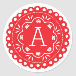 Papel Picado Monogram Stickers - Red