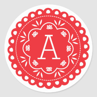 Papel Picado Monogram Stickers - Red