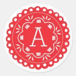 Papel Picado Monogram Stickers - Red Round Sticker
