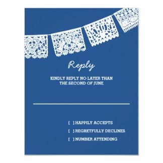 Papel Picado Navy Blue | Wedding Reply RSVP Card