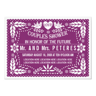 Papel picado purple Mexican wedding couples shower Card