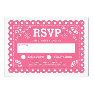 Papel Picado que casa el rosa de RSVP Comunicados Personalizados