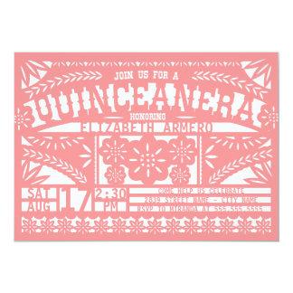 """Papel Picado Quinceañera Invitation 5"""" X 7"""" Invitation Card"""