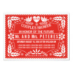 Papel picado red wedding couples shower 5x7 paper invitation card