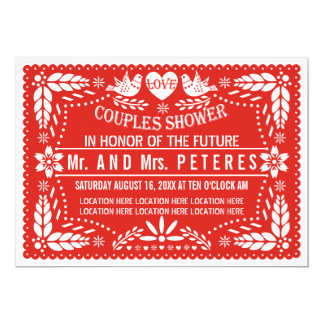 "Papel picado red wedding couples shower 5"" x 7"" invitation card"