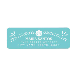 Papel Picado Return Address Labels - Blue