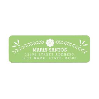 Papel Picado Return Address Labels - Green