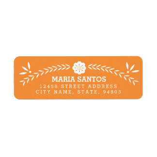 Papel Picado Return Address Labels - Orange