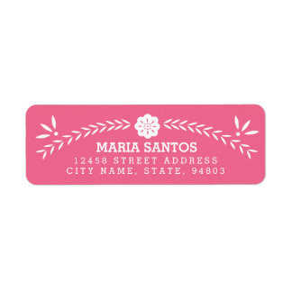 Papel Picado Return Address Labels - Pink