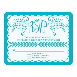 Papel Picado RSVP Blue Pool Fiesta Wedding Banner Card