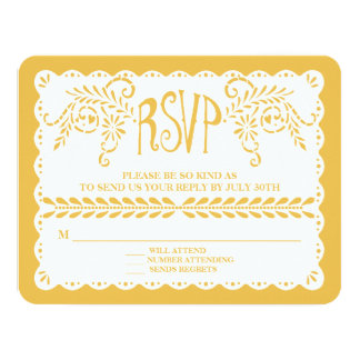 Papel Picado RSVP Gold Fiesta Wedding Banner Card