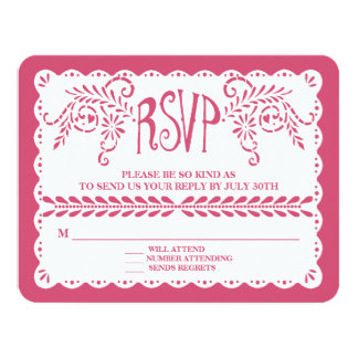 Papel Picado RSVP Hot Pink Fiesta Wedding Banner Card