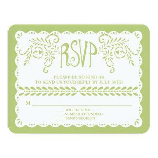 Papel Picado RSVP Lime Fiesta Wedding Banner Card