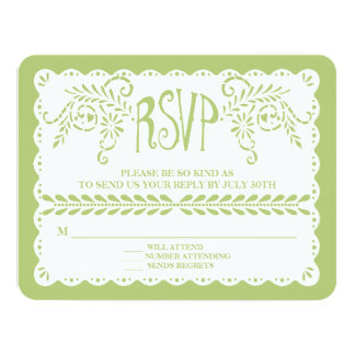 Papel Picado RSVP Lime Fiesta Wedding Banner Card