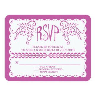 Papel Picado RSVP Purple Fiesta Wedding Banner Card