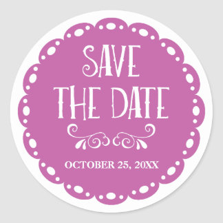 Papel Picado Save the Date Lilac Fiesta Wedding Classic Round Sticker
