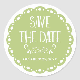 Papel Picado Save the Date Lime Fiesta Wedding Classic Round Sticker