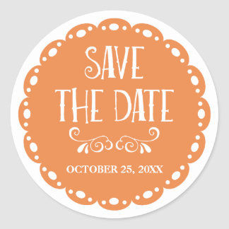 Papel Picado Save the Date Orange Fiesta Wedding Classic Round Sticker