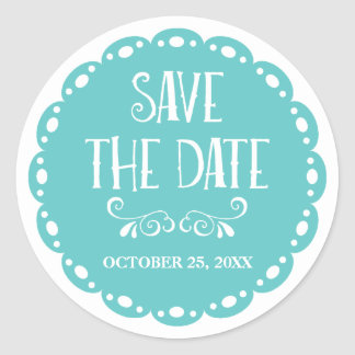 Papel Picado Save the Date Sky Blue Fiesta Wedding Classic Round Sticker