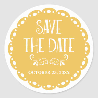 Papel Picado Save the Date Yellow Fiesta Wedding Classic Round Sticker
