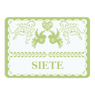 Papel Picado Siete Seven Table Number Gold Fiesta Card