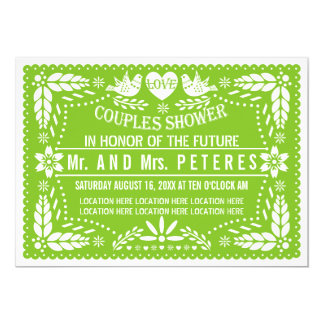 Papel picado spring green wedding couples shower card