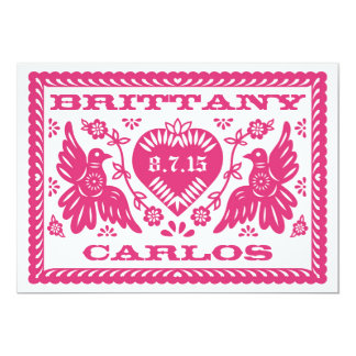 Papel Picado Style Love Birds 5x7 Paper Invitation Card