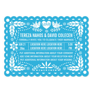 Papel picado style love birds blue fiesta wedding card