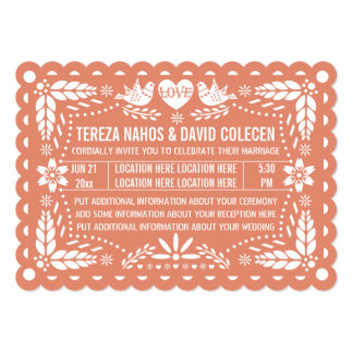 Papel picado style love birds peach fiesta wedding card