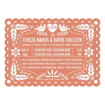 Valentines Themed Papel picado style love birds peach fiesta wedding card