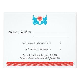 Papel Picado Style Love Birds RSVP 4.25x5.5 Paper Invitation Card