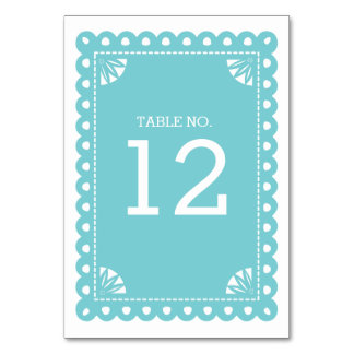 Papel Picado Table Number - Blue Card