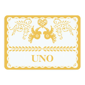 Papel Picado Table Number Gold Fiesta Dove Heart Card