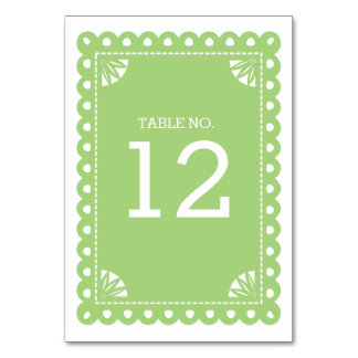 Papel Picado Table Number - Green Table Card