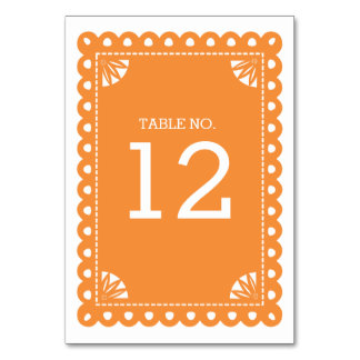 Papel Picado Table Number - Orange Card